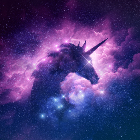 A unicorn silhouette in a galaxy nebula cloud. Raster illustration.