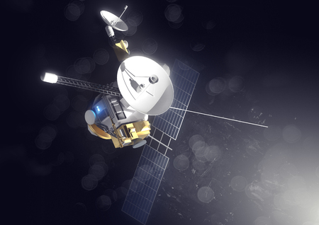 A deep space probe transmitting data and  information. 3D illustration.