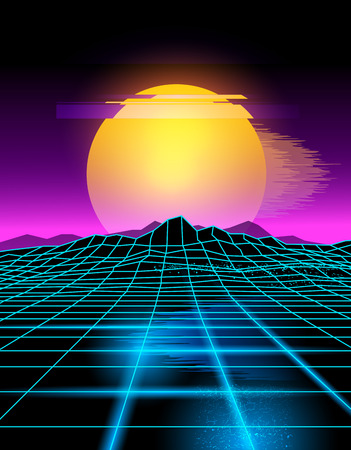 Futuristic neon grid lines and mountain landscape with a neon sun in pink and yellow. Illustration