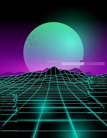 Futuristic neon grid lines and mountain landscape with a neon sun in purple and green. Glitch background vector illustration. Illustration