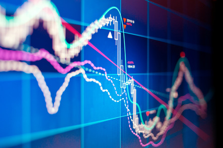A technical stocks and shares graph on a computer screen. Banque d'images
