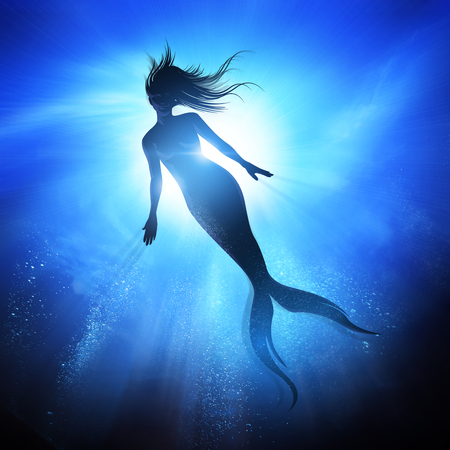 A swimming Mermaid silhouette with a long fish tail in the deep blue sea. Mythical creature of the ocean. Mixed media illustration