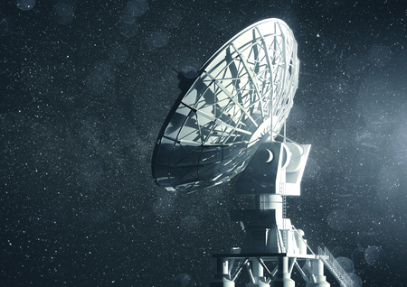 A very large radio telescope searching for information in space. 3D illustration.