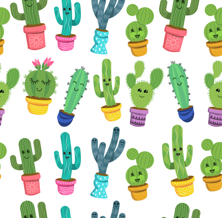 A seamless pattern of cute cactus plant characters with smiling faces in colorful pots. Vector illustration.  イラスト・ベクター素材
