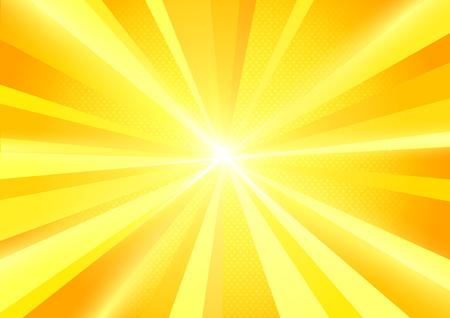 Un soleil jaune vif éclate un fond rayonnant. Illustration vectorielle