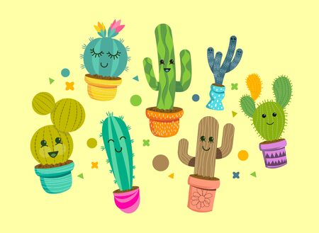 A collection of bright and happy cactus plant characters in colorful pots. Vector illustration.