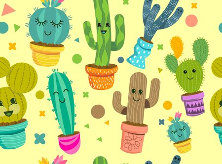 A seamless pattern of cheerful cactus plant characters with smiling faces in colorful pots. Vector illustration.