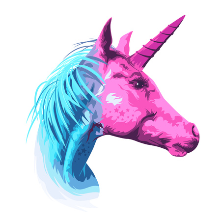 A pink and cyan mythical unicorn horse. Vector illustration
