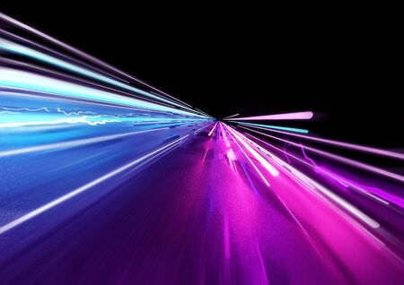 Super fast trailing lights in bright neon colors. 3D Illustration