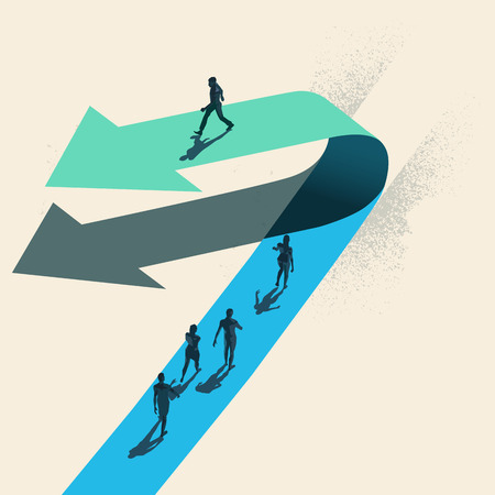 A Change of Direction. A businessman choosing to walk in the opposite direction to other people on top of a arrow. Business conceptual vector illustration. Çizim