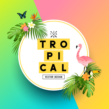 A bright and colorful tropical summer design with Plumerias, a flamingo and jungle palm leaves. vector illustration.