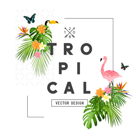 Tropical rainforest elements and frame with palm tree leaves, flora, and wildlife. Vector illustration Illustration