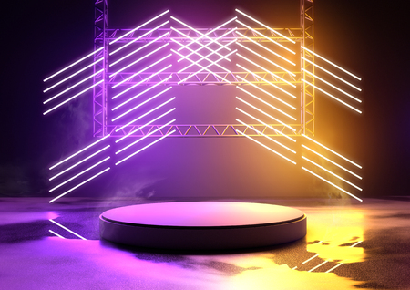 Blank concert platform for product placement with glowing neon tube lighting in purple and orange. 3D illustration.