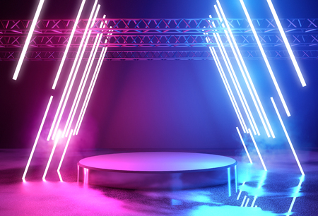 Glowing neon lighting and a blank platform for product placement, 3D illustration. Фото со стока - 100756561