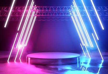 Illuminazione al neon incandescente e una piattaforma vuota per il posizionamento del prodotto, illustrazione 3D.