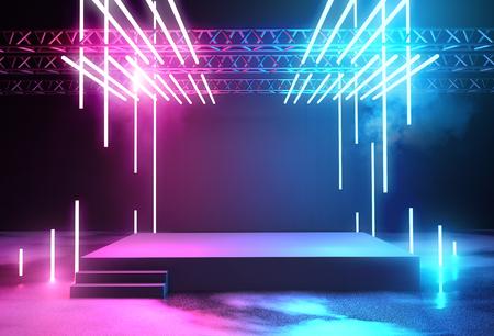 Palco con sfondo di illuminazione al neon con piattaforma vuota per il concerto o l'inserimento di prodotti. Illustrazione 3D. Archivio Fotografico