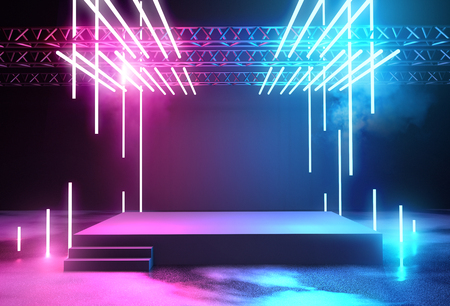 Stage with neon lighting background with blank platform for concert or product placement. 3D illustration.