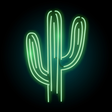 A glowing neon cactus plant tube light sign. Layered vector illustration