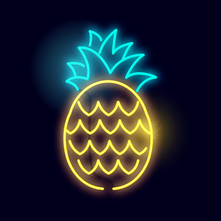 A glowing neon pineapple light sign. Layered vector illustration. Ilustração