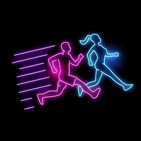 Neon glowing active running man and women light sign. vector illustration. 矢量图像