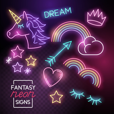 Fantasy Neon lights set incuding unicorns and rainbows. Vector illustration.