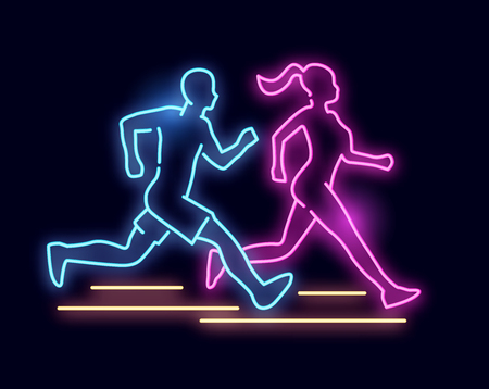 A man and women running - Neon light sign. vector illustration