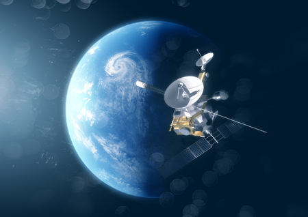 A satellite probe in space above the planet earth. 3D Illustration.