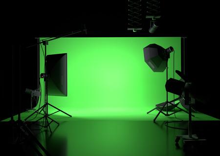A green screen photography studio background with lighting. 3D illustration Standard-Bild - 104177107