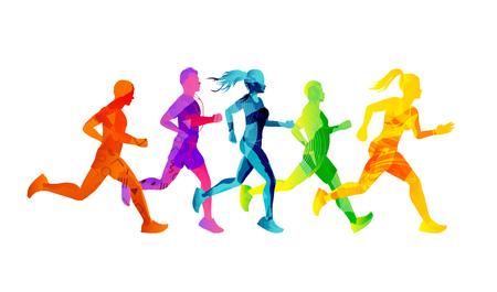Eine Gruppe von rennenden Männern und Frauen, die gegeneinander antreten und fit bleiben. Bunte Texturmenschenschattenbilder. Vektorillustration.