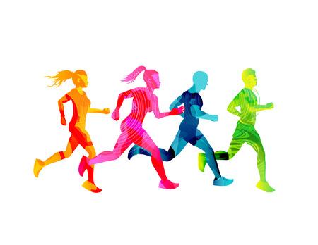 Un grupo de hombres y mujeres corriendo que se mantienen en forma. Siluetas de personas de textura colorida. Ilustración vectorial Ilustración de vector