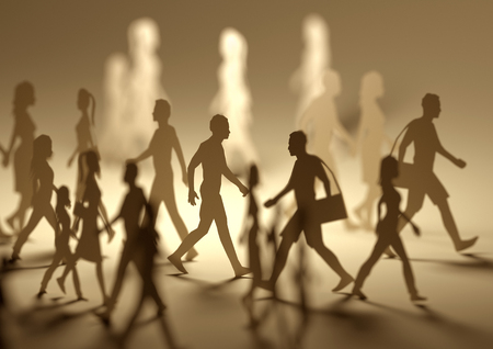 A crowd of busy people walking on a busy street made out of paper silhouettes. 3D illustration. Stockfoto