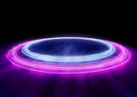 Neon Circles of car light trails. 3D illustration