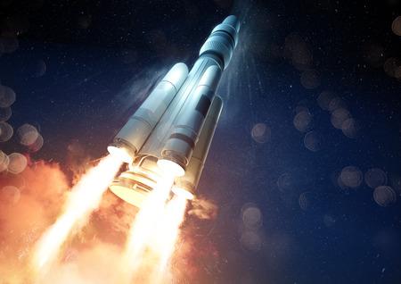 Ángulo extremo de un cohete que lanza una sonda al espacio. Ilustración 3D. Foto de archivo