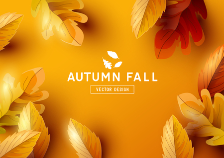 Autumn season background design with golden falling autumn leaves and room for text. Vector illustration Vectores