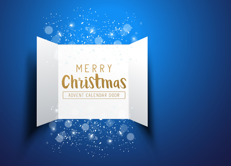Christmas advent Calendar Doors opening with snowflakes and glitter on a blue background. Vector illustration.