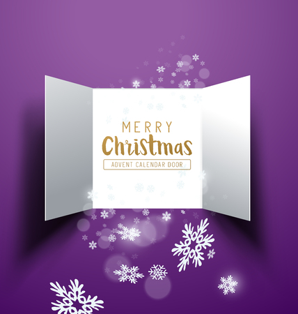 Christmas advent Calendar Doors opening with snowflakes and glitter. Vector illustration. Illustration