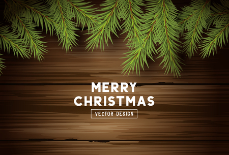 Festive christmas background design with fir tree branches and clippings on a vintage wooden background. Vector illustration. Illustration