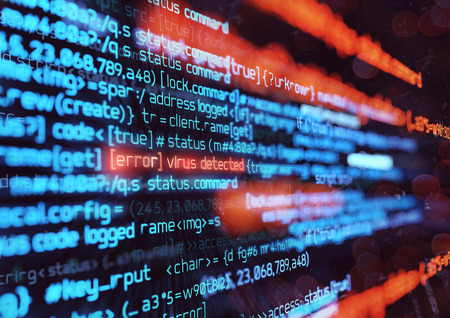 Código de programación informática que detecta un virus informático. Ilustración 3D de fondo de seguridad en línea, piratería y firewall digital