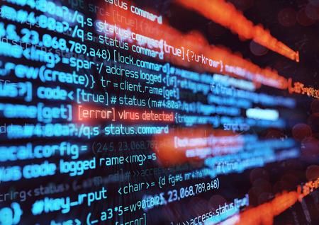 Code de programmation informatique détectant un virus informatique. Sécurité en ligne, piratage et illustration 3D de fond de pare-feu numérique
