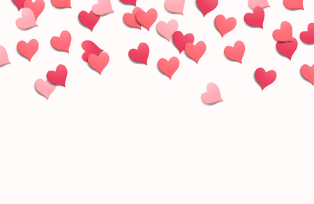 Heart shaped confetti isolated background. Valentines Day vector illustration  イラスト・ベクター素材