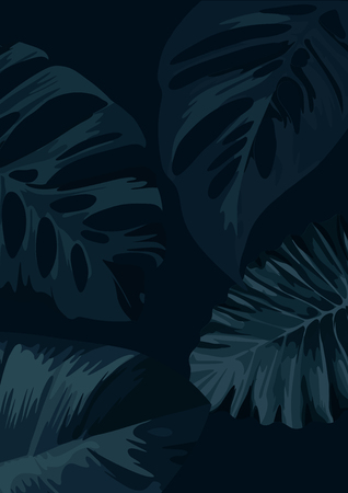 A dark botanical floral background with palm tree leaves. vector illustration