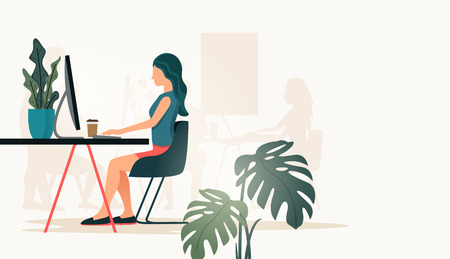 A casual women working at a desk in a office using a comptuer. People vector illustration  イラスト・ベクター素材