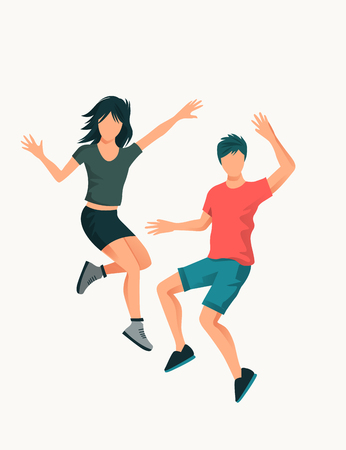 A young happy couple jumping high up. People vector illustration.