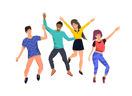 A group of happy active young people jumping for joy. Isolated Vector character illustration.