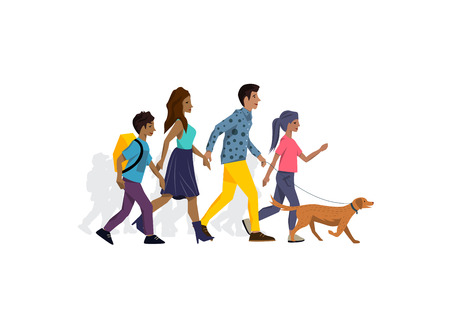 Family members walking the dog in the park and spending time together. Vector illustration.