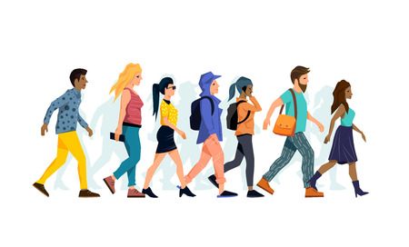 A group of various different character people walking together. Vector illustration.