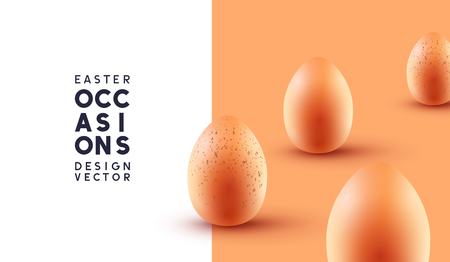 Happy Easter chocolate eggs background with realistic pastel coloured eggs. Vector illustration. Illustration
