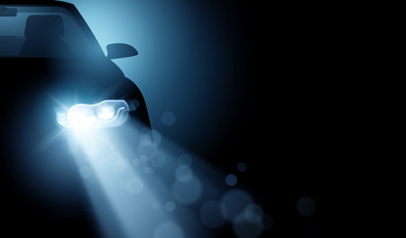 A modern car with bright LED headlights. Generic driving car light beams vector illustration background.  イラスト・ベクター素材