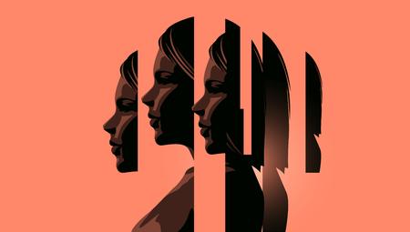 Une femme aux prises avec des problèmes de santé mentale montrant les différents visages de la gestion des problèmes personnels. Concept de sensibilisation à l'anxiété, à la dépression et à la pleine conscience. Illustration vectorielle. Vecteurs