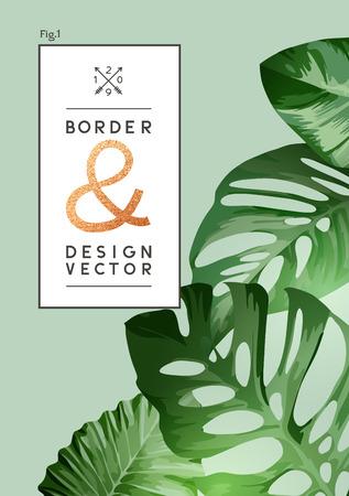 Vintage botanical palm leaf floral background frame template. Vector illustration.  イラスト・ベクター素材